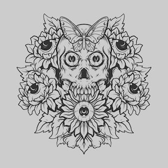 Tatouage et conception de t-shirt noir et blanc dessinés à la main crâne et ornement de gravure de fleur de soleil