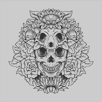 Tatouage et conception de t-shirt noir et blanc dessinés à la main crâne et ornement de gravure de fleurs