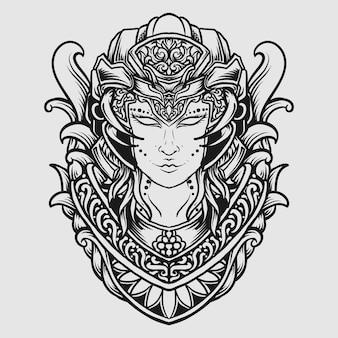 Tatouage et conception de t-shirt noir et blanc dessinés à la main des femmes extraterrestres gravure ornement