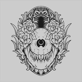 Tatouage et conception de t-shirt noir et blanc dessinés à la main globe oculaire crâne et rose ornement de gravure