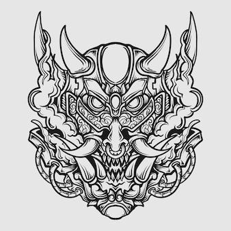 Tatouage et conception de t-shirt noir et blanc dessinés à la main masque oni ornement de gravure