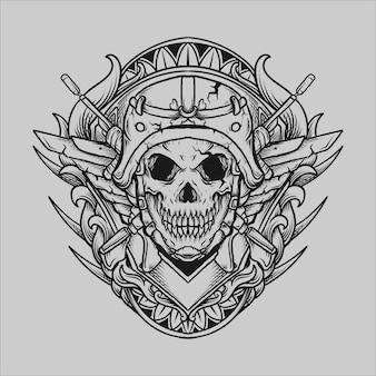 Tatouage et conception de t-shirt noir et blanc ornement de gravure de crâne d'armée dessiné à la main