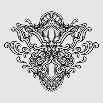 Tatouage et conception de t-shirt noir et blanc ornement de gravure de papillon dessiné à la main
