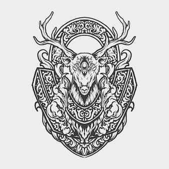 Tatouage et conception de t-shirt ornement de gravure de cerf dessiné à la main noir et blanc