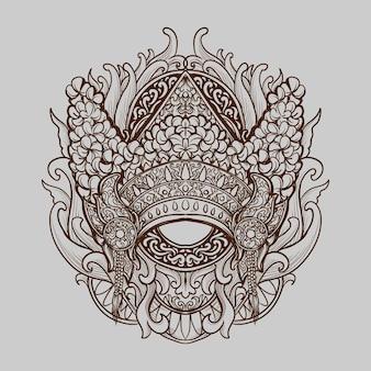 Tatouage et conception de t-shirt ornement de gravure de couronne balinaise dessinés à la main en noir et blanc