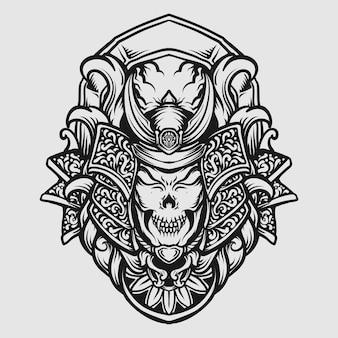 Tatouage et conception de t-shirt ornement de gravure de crâne de samouraï dessiné à la main noir et blanc