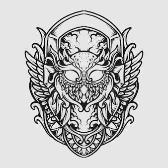 Tatouage et conception de t-shirt ornement de gravure de hibou dessiné à la main noir et blanc