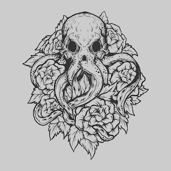 Tatouage et conception de t-shirt poulpe et rose dessinés à la main en noir et blanc