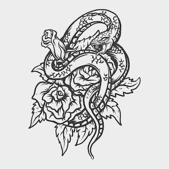 Tatouage et conception de t-shirt serpent et ornement de gravure de rose