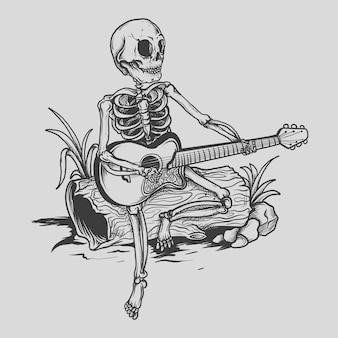 Tatouage et conception de t-shirt squelette et guitare dessinés à la main en noir et blanc