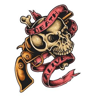 Tatouage de crâne et pistolet