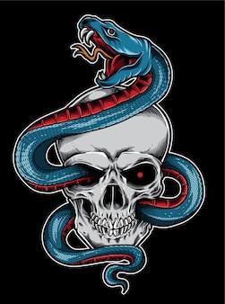 Tatouage de crâne de serpent