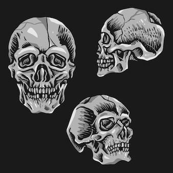 Tatouage de crâne vintage rétro