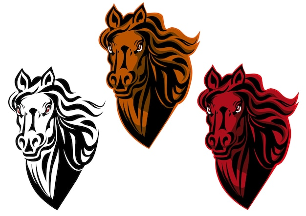 Tatouage de dessin animé de cheval pour design isolé sur blanc