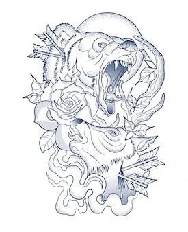 Tatouage effrayant d'un ours blessé et de cerf