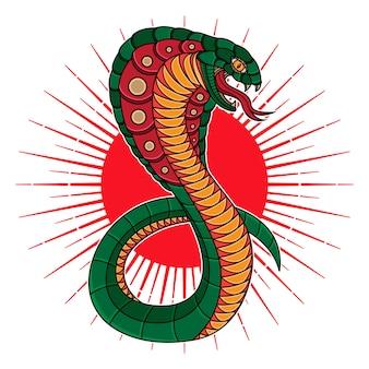 Tatouage flash traditionnel cobra au serpent