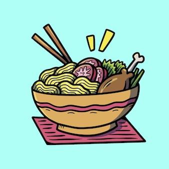 Tatouage mignon de vieille école de nourriture de ramen