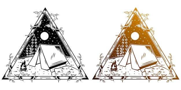 Tatouage monoline de camping et d'aventure