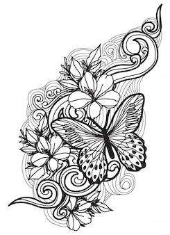 Tatouage papillon et fleur