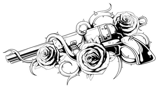 Tatouage de poulain revolver avec roses