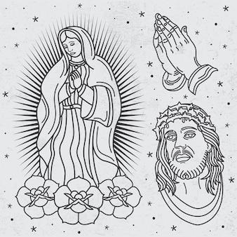 Tatouage religieux de vecteur