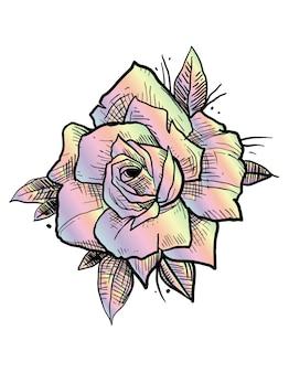 Tatouage rose arc-en-ciel