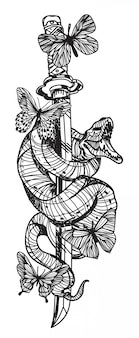 Tatouage serpent et papillon