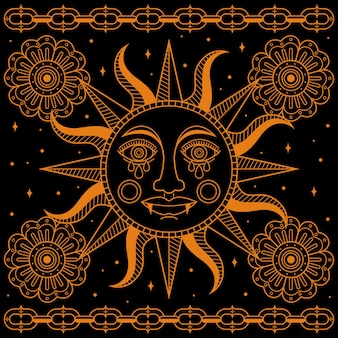 Tatouage soleil traditionnel simple