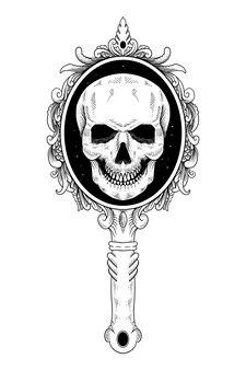 Tatouage et t-shirt crâne et ornement de miroir