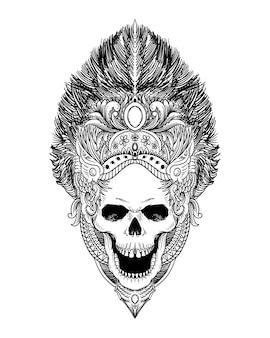 Tatouage et t-shirt design crâne vecteur premium isolé