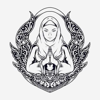 Tatouage et t-shirt design femmes musulmanes dessinées à la main en noir et blanc en ornement de gravure