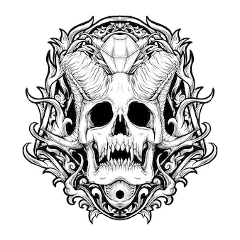 Tatouage et t-shirt design illustration dessinée à la main noir et blanc