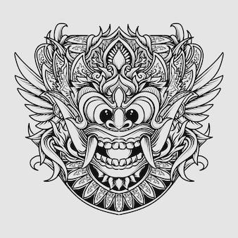Tatouage Et T-shirt Design Noir Et Blanc Illustration Dessinée à La Main Ornement De Gravure Barong Vecteur Premium