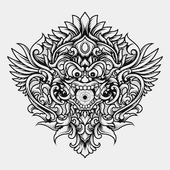 Tatouage et t-shirt design noir et blanc illustration dessinés à la main barong créature monstre tête gravure ornement