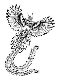 Tatouage et t shirt design noir et blanc phoenix bird premium
