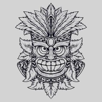 Tatouage et t-shirt design totem sourire dessiné main noir et blanc