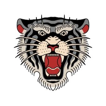Tatouage Tête De Tigre Vecteur Premium