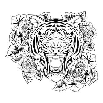 Tatouage et tshirt design tigre avec rose dessiné à la main noir et blanc premium vector