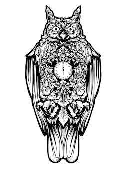 Tatouage et tshirt hibou horloge design