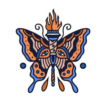 Tatouage de la vieille école au papillon de la flamme
