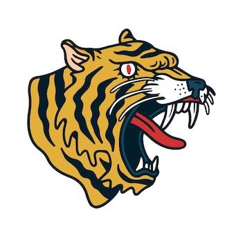 Tatouage vieille école tigre en colère jaune