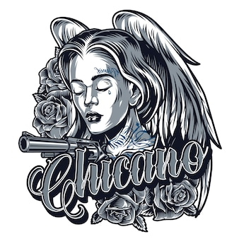 Tatouage vintage de jolie fille chicano