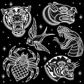 Tatouages d'animaux en noir et blanc