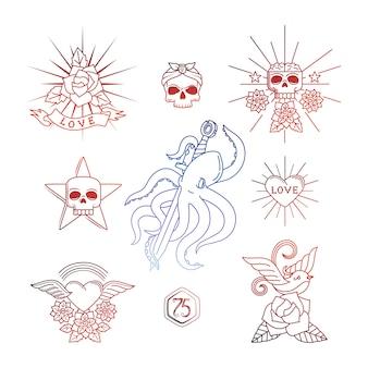 Tatouages linéaires avec éléments de crâne vector illustration