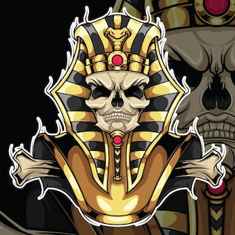 Tattoo design skull pharaoh., concept de conception de tatouage.