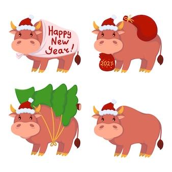 Taureau avec des cadeaux, porte le sapin de noël. année du bœuf. jeu de vaches heureuses. illustration de nouvel an et joyeux noël.