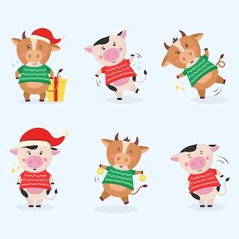 Taureau de couleur animaux symbole du nouvel an chinois avec des cornes vache animal vacances personnage de dessin animé