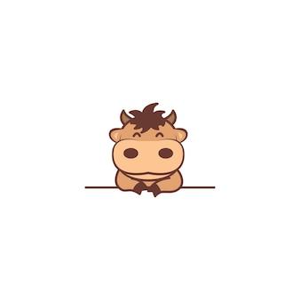 Taureau mignon souriant sur dessin animé de mur