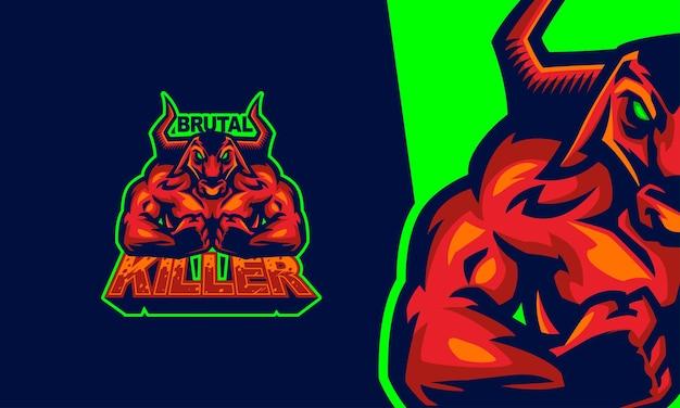 Taureau rouge de logo avec illustration de mascotte de vecteur premium de jeu musculaire