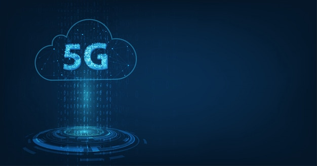 Taux de données de connexion de réseau mondial haute vitesse d'innovation, 5g lumineux rougeoyant sur bleu foncé